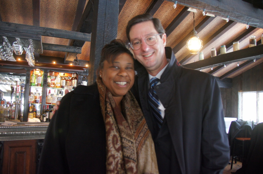 Tracy Alston of Eversource and First Selectman Clay Cope of Sherman